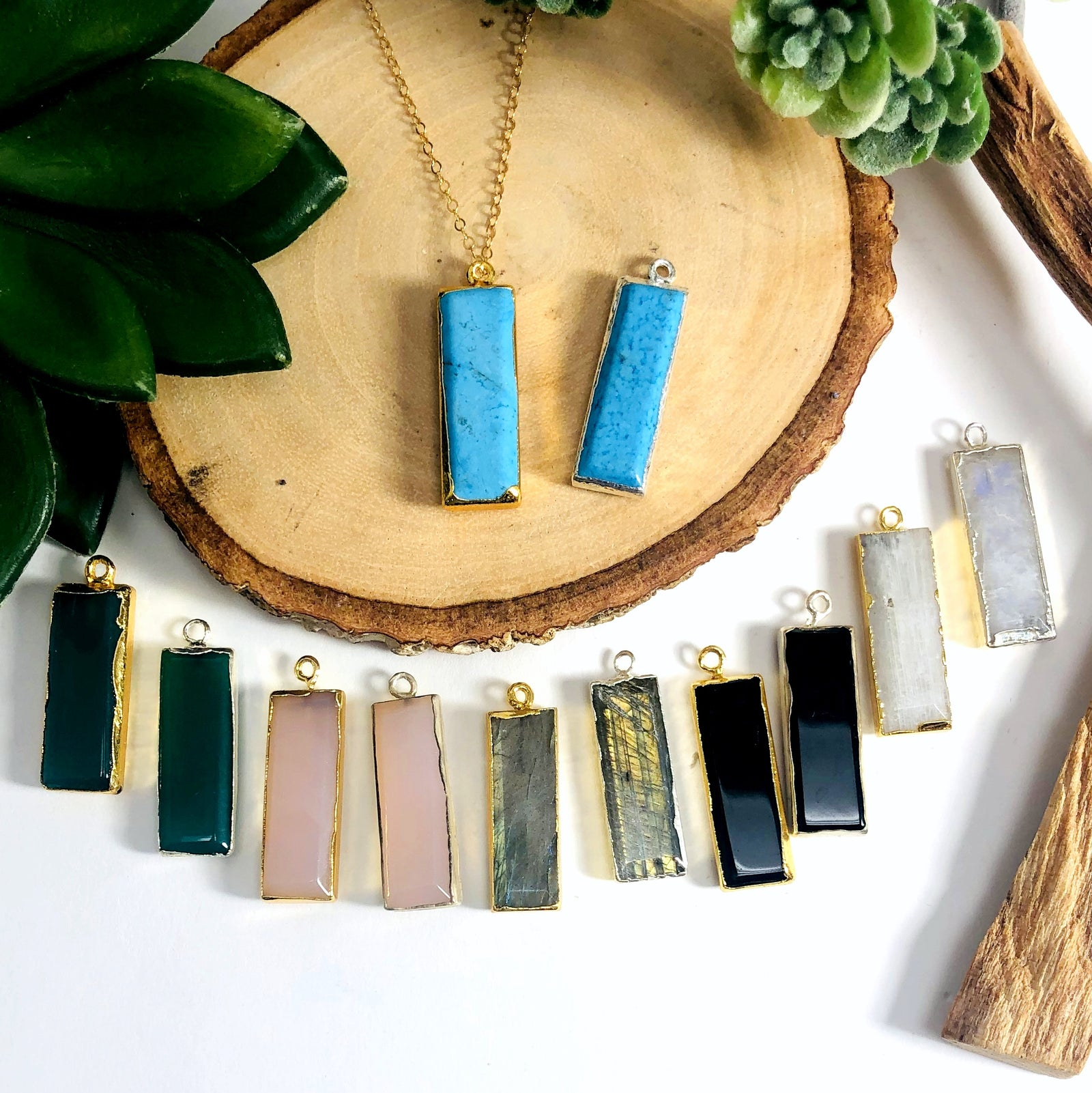 Gemstone Bar Pendant with Electroplated 24k Gold or Silver Edge (S41B25)
