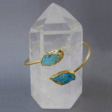 Raw Turquoise Adjustable Arm Band Cuff Bracelet 24k Gold Electroplated (BRAC-BOX7-06)