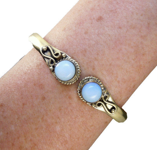 Brass Adjustable Bangle Bracelet with Chinese Opalite
