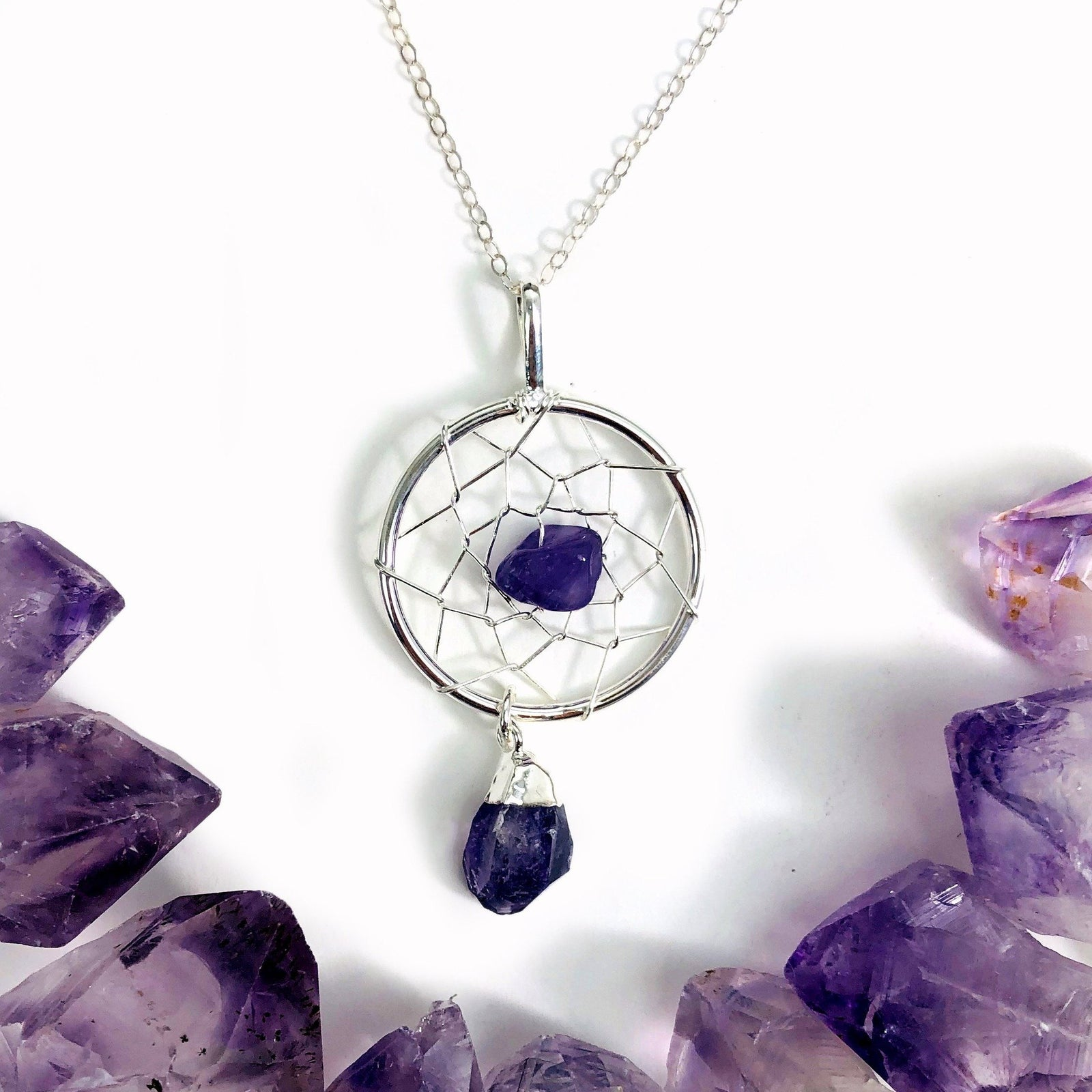 Amethyst Dream Catcher Pendant (S34B27b-08)