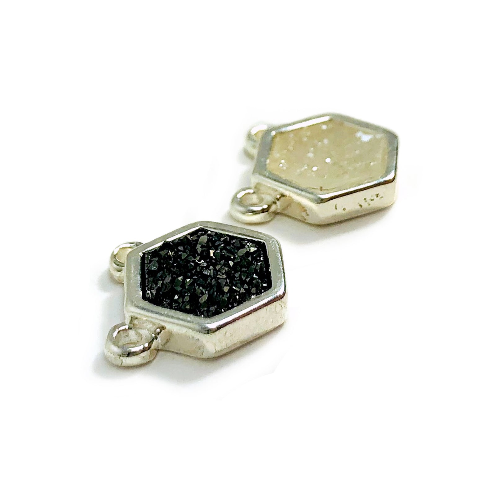 Druzy Hexagon Double Bail Pendants Silver plated (S51B6)