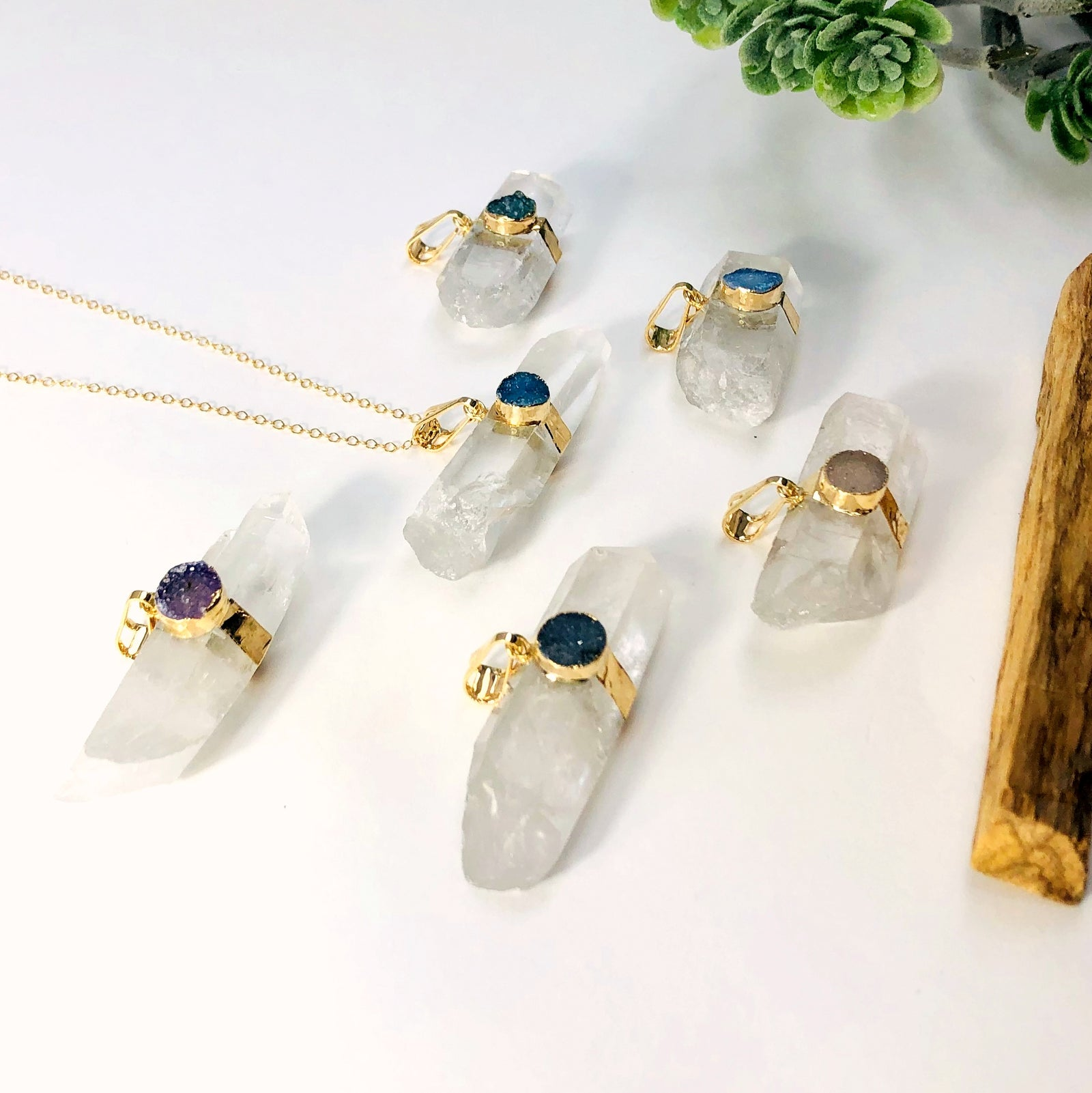 Crystal Quartz Pendant with Druzy Accent (S51B4-10)