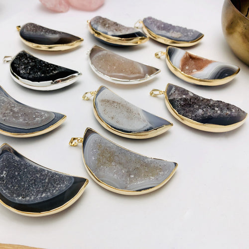 Agate Druzy Moon Pendant with Electroplated 24k Gold/Silver Edge (S110B15)