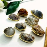 Agate Tumbled Pendant Electroplated 24k Gold (S52B29b-08)