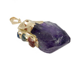 Amethyst Point Pendant with Gemstone Accents and 24k Gold or Silver Cap and Edge (S130B3)