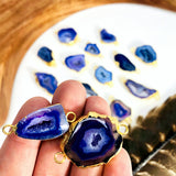 Agate Druzy Connector with Electroplated 24k Gold (S18B6-07)