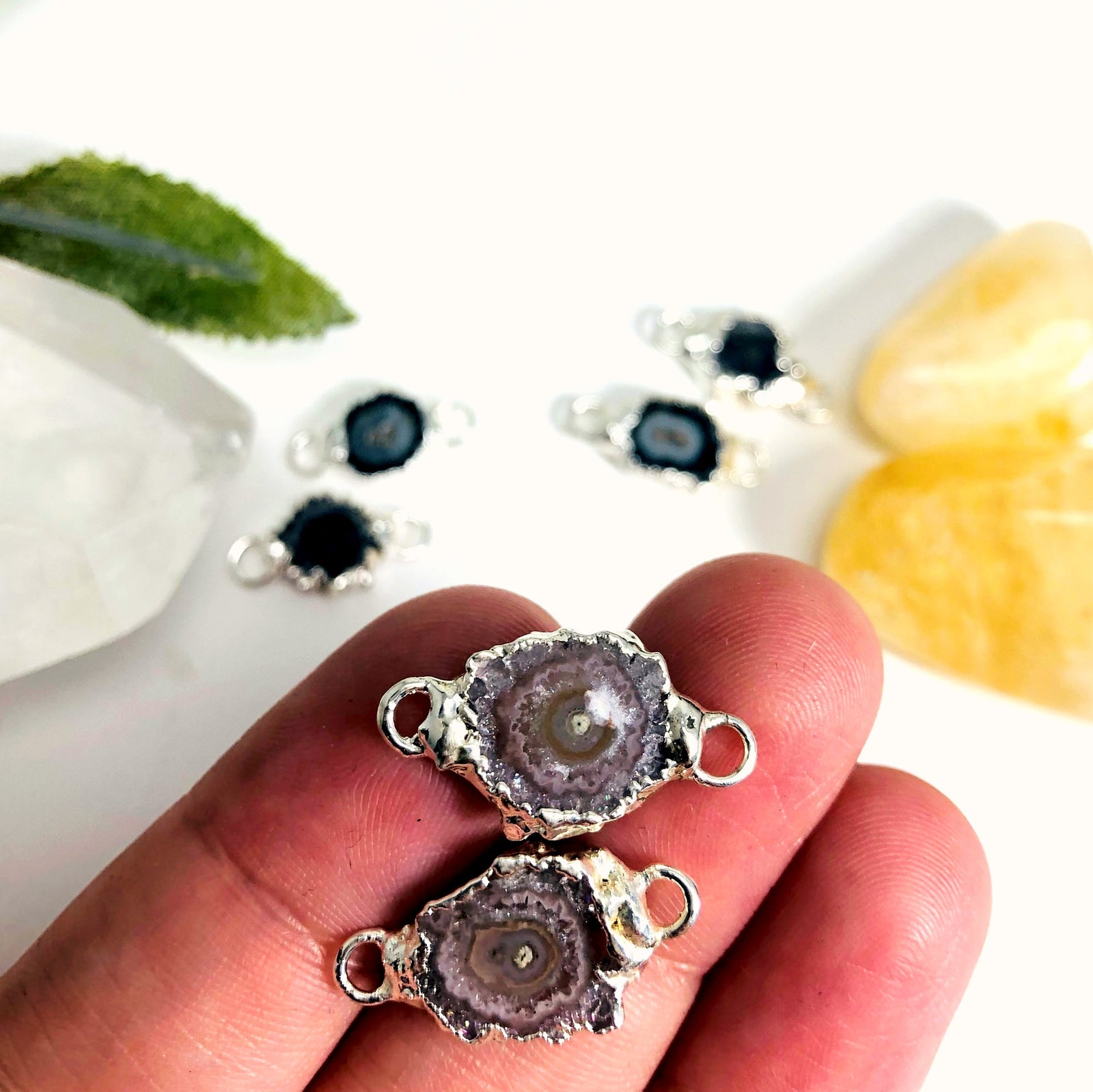 Amethyst Stalactite Connector Pairs in Electroplated 24k Gold/Silver Plating (S52B27b)