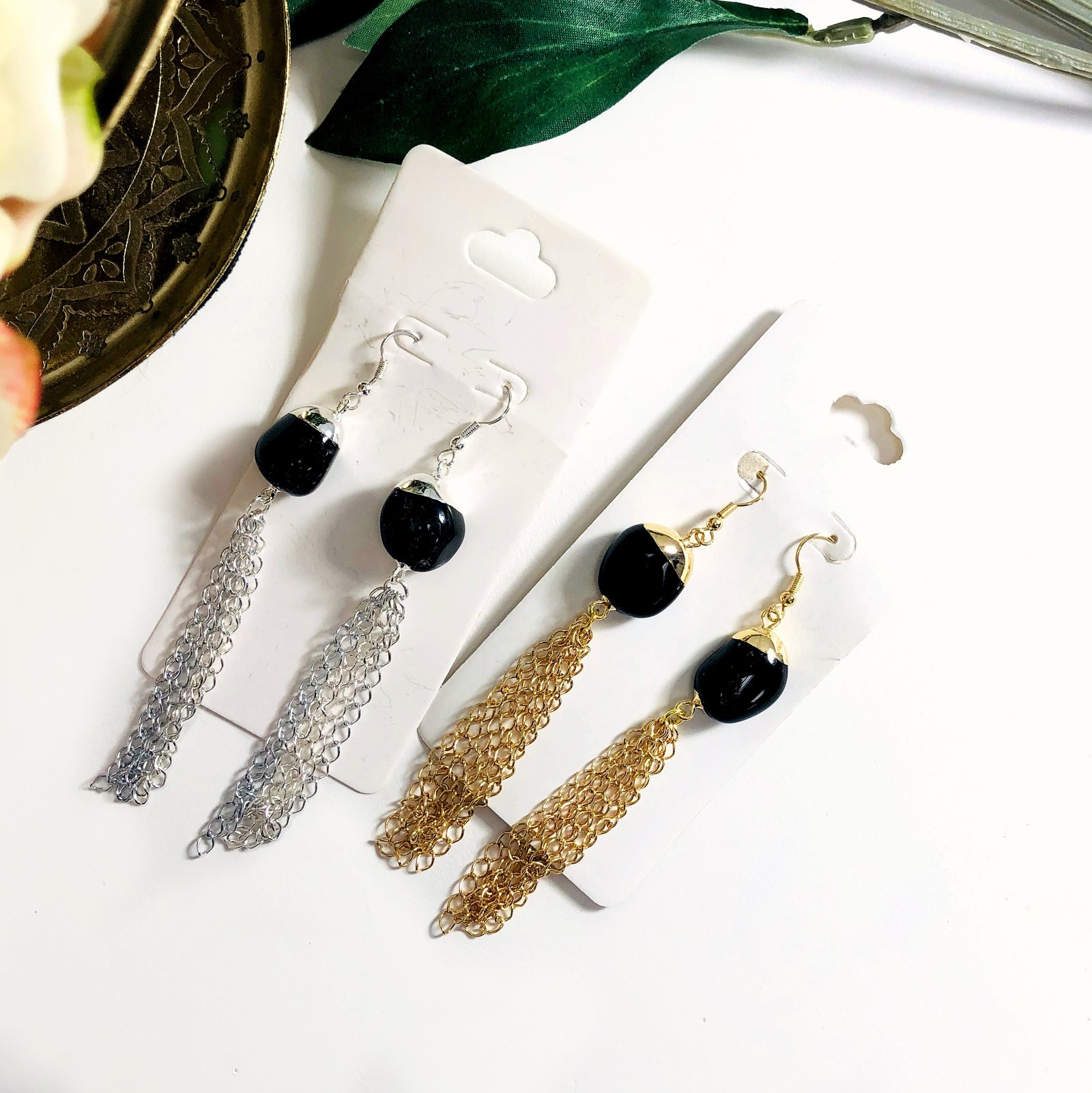Gemstones Earrings with Tassel Chain  (EBOX24)