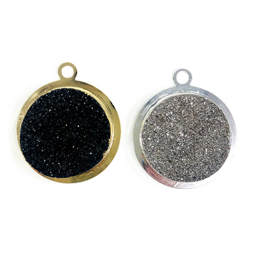Titanium Druzy Round Pendants in Electroplated 24k Gold/Silver Tone (S110B9)