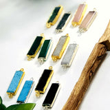 Gemstone Bar Connector with Electroplated 24k Gold/Silver Edge (S41B25)