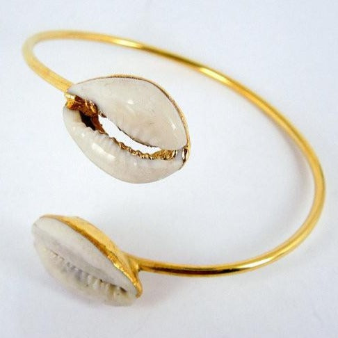 Cowrie Shell Adjustable Arm Band Cuff Bracelet 24k gold Electroplated (BRAC-Box7-03)