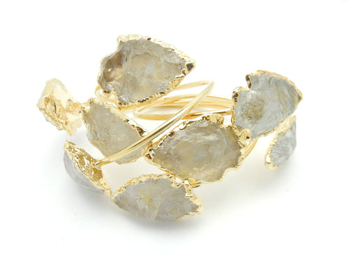 Crystal Arrowhead Arm Band 24k Gold Electroplated Bracelet (BRAC-BOX7-09)