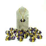 Amethyst Quartz Double Terminated Point Pendant with Electroplated 24k Gold Band (S20B15-03)
