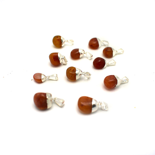 Carnelian Pendant with Electroplated Silver (S21B15-05)