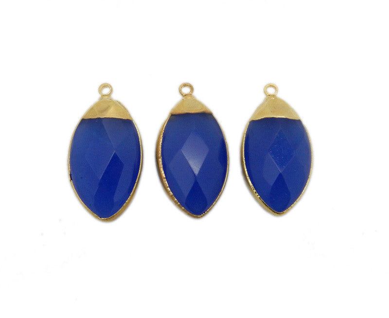Royal Blue Chalcedony Marquise Briolette Pendant with Electroplated 24k Gold Cap and Edge