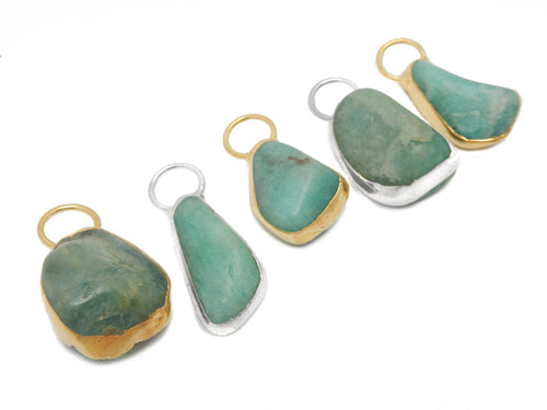 Amazonite Tumbled Stone Pendant With Electroplated Edges and Fancy Hoop (S68b24)