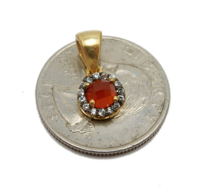 Tiny Gemstone Pendant Set in Gold Plated Bezel with Rhinestone Pave Accent