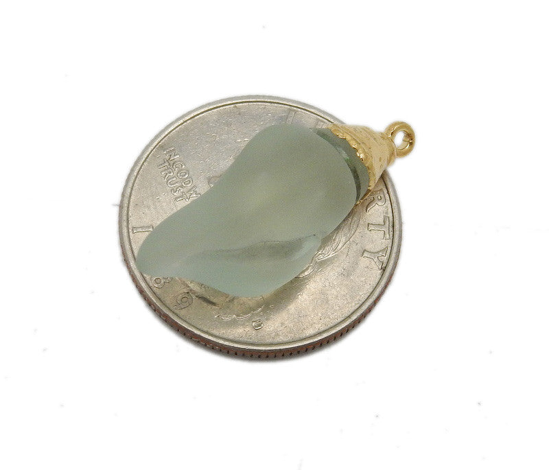 Petite Light Blue Sea Glass Shell Pendant with Electroplated 24k Gold Cap and Bail