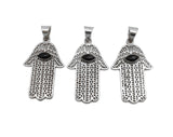 Hamsa Hand - Silver Plated Hamsa Hand Pendant with Black Onyx Gemstone Accent