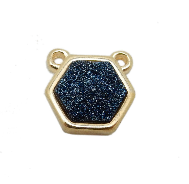 Hexagon Mystic Druzy Double Bail Pendant set in Plated Bezel