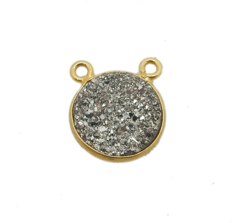 Druzy Platinum Round Double Bail Charm Pendant Connector set in Gold Plated Bezel 12mm