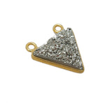 Platinum Druzy Triangle Double Bail Pendant -- 12mm Gold Plated Bezel