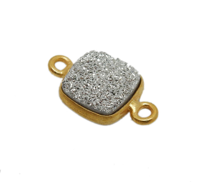 Druzy Double Bail Connector Charm Pendant-- 8mm Platinum Druzy Connector in a Gold Plated Square Bezel