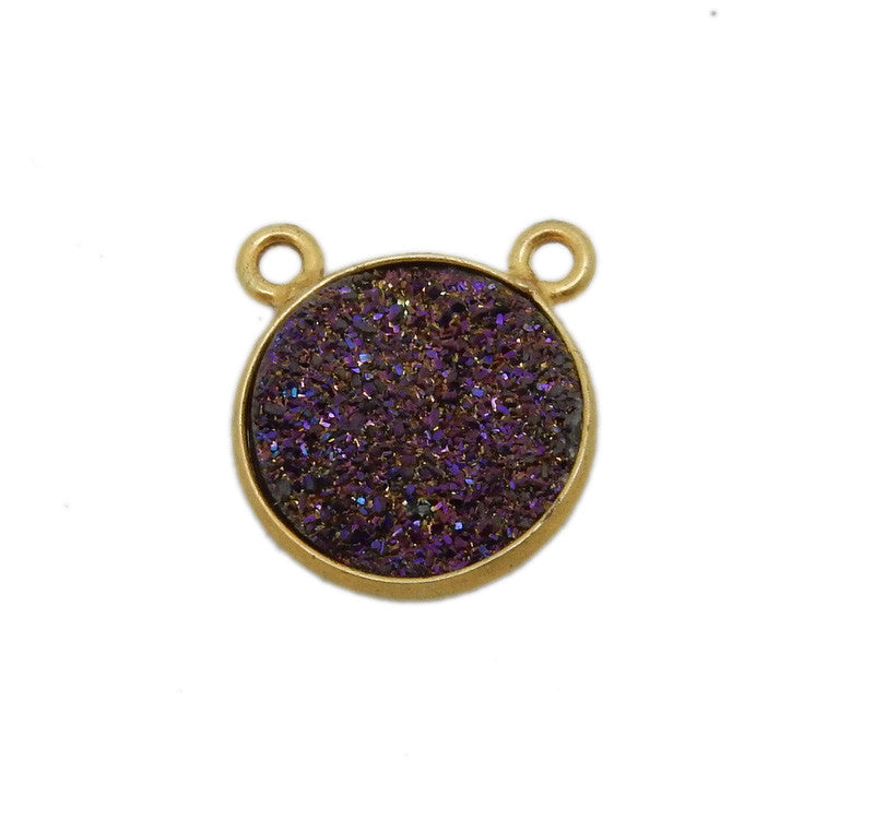 Druzy Mystic Purple Round Double Bail Charm Pendant Connector set in Gold Plated Bezel 12mm