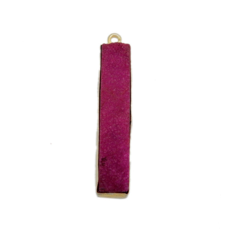 Dyed Hot Pink Colored Druzy Double Bail Pendant -- Gold Plated Bezel Bar
