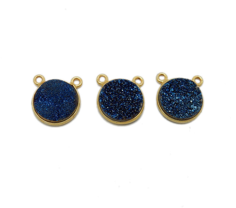 Druzy Mystic Blue Round Double Bail Charm Pendant Connector set in Gold Plated Bezel 12mm