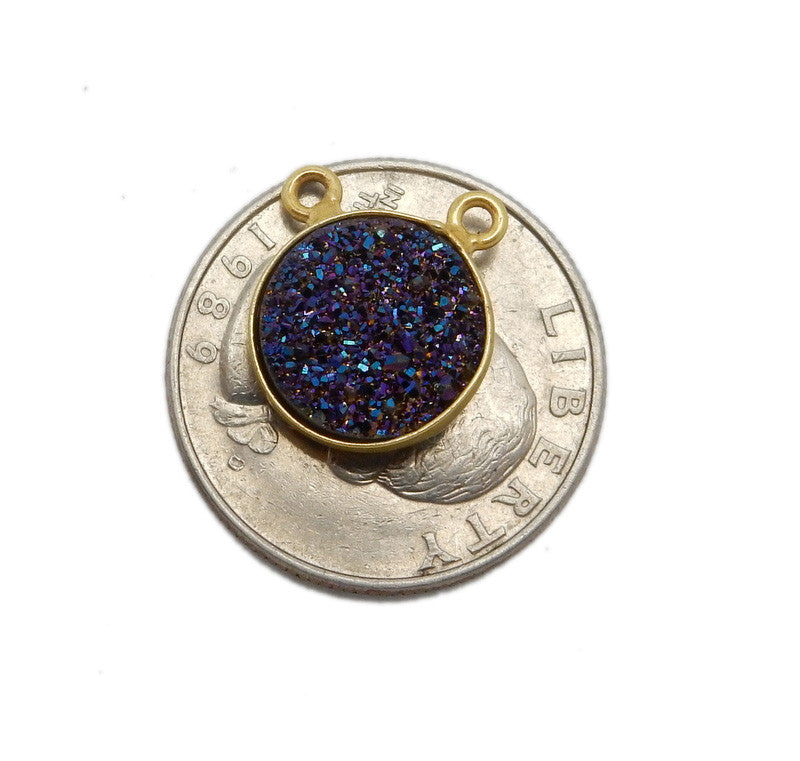 Druzy Mystic Blue-Purple Round Double Bail Charm Pendant Connector set in Gold Plated Bezel 12mm