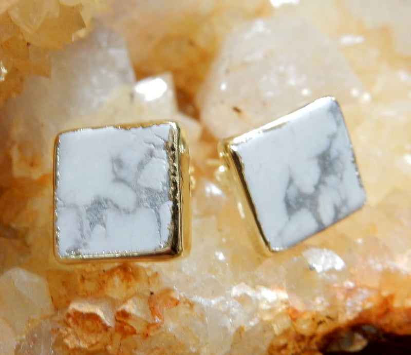 Gemstone Square Shaped Stud Earrings with Electroplated Silver Edge (S125B2)