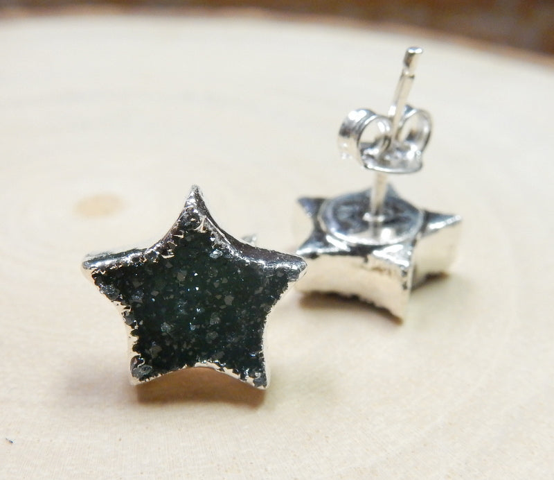 Gemstone Star Shaped Stud Earrings with Electroplated 24k Gold Edge (S125B1)