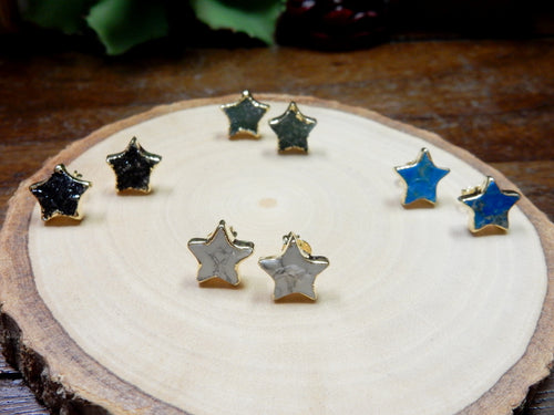 Gemstone Star Shaped Stud Earrings with Electroplated 24k Gold Edge (S125B5)