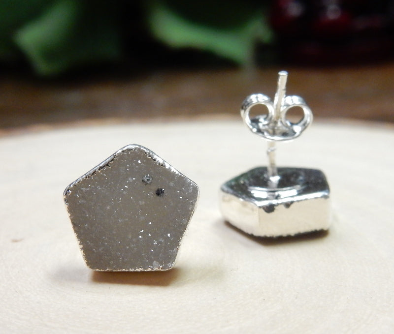 Gemstone Pentagon Shaped Stud Earrings with Electroplated Silver Edge (S125B3) (S125B2-07)