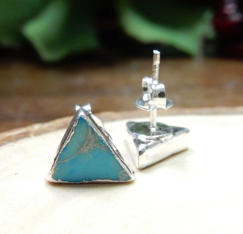 Gemstone Triangle Shaped Stud Earrings with Electroplated Silver Edge (S125B10) (S125B5)