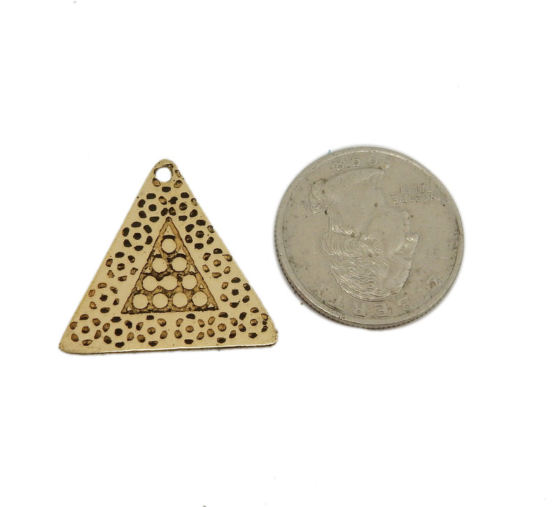 Triangle Spotted Pendant - Brass Triangle Pendant with Spots (S86B22-02)
