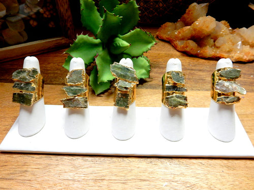 Triple Green Kyanite Freeform Chunks on Electroplated 24k Gold Cigar Band Textured Adjustable Ring (RK30B3-01)