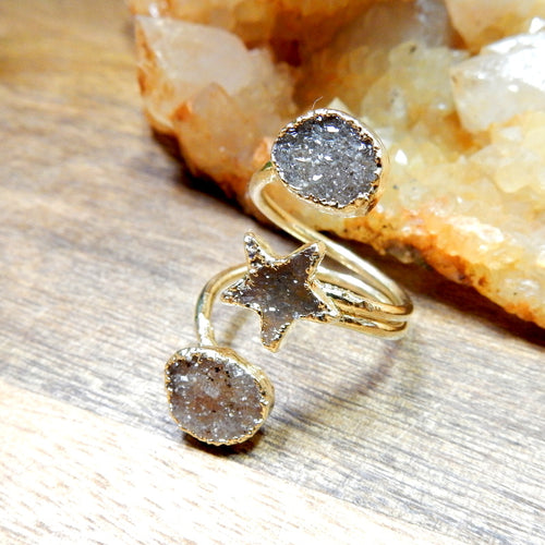 Druzy Star and Double Oval Wrap Ring with Thin Adjustable 24k Gold Electroplated Band (RK30B3-02)