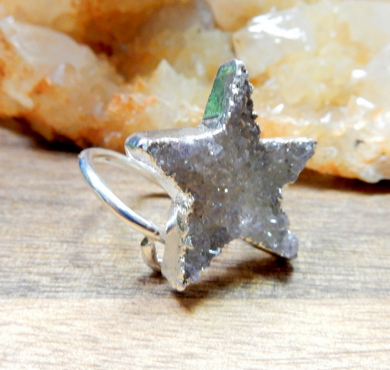 Druzy Star Wrap Ring with Thin Adjustable 24k Gold or Silver Electroplated Band (RK30B3)