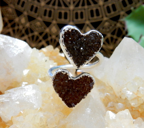 Double Druzy HeartWrap Ring with Thin Adjustable Silver Electroplated Band (RK30B3-05)