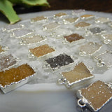 Druzy Pendant Rectangle Electroplated Silver Edge - Double Bail - Druzzy Drusy  Charm (S129B4-05)