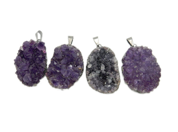 Amethyst Druzy Point Cluster Pendant with Electroplated Oxidized Silver