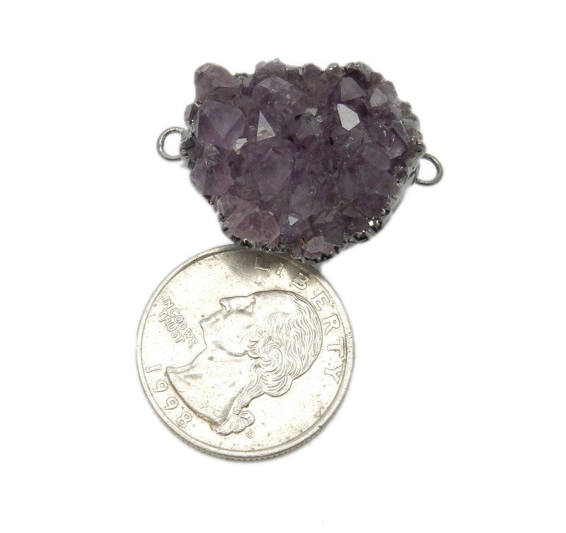 Amethyst Druzy Point Cluster Double Bail Pendant with Electroplated Oxidized Silver