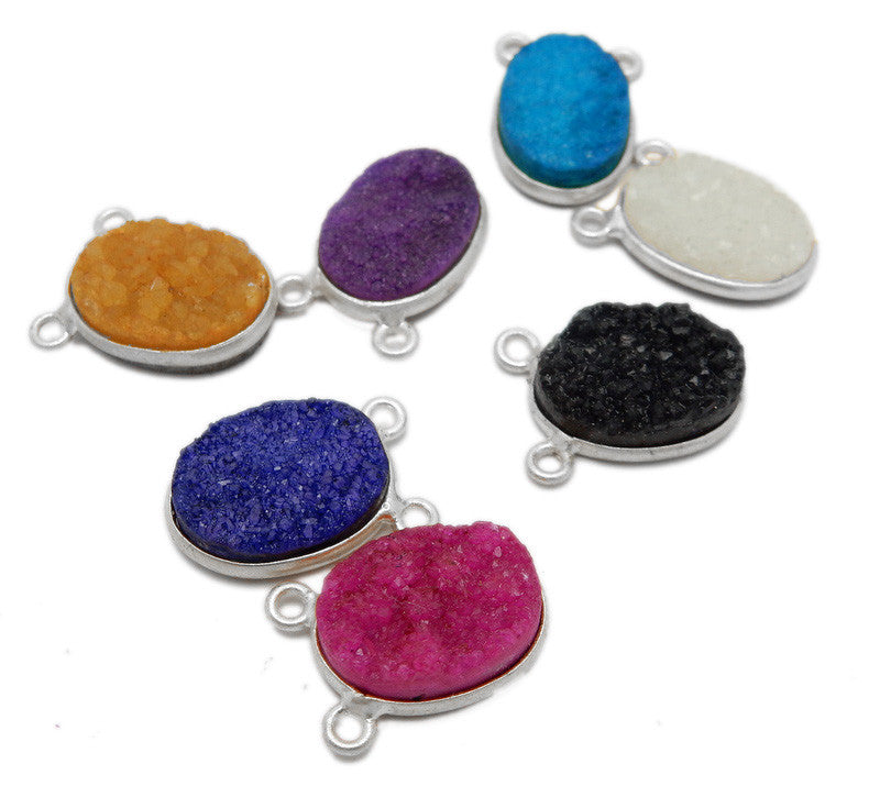 Oval Druzy Double Bail Pendant - 10mm x 14mm - Silver Plated Druzy Bezel Connector