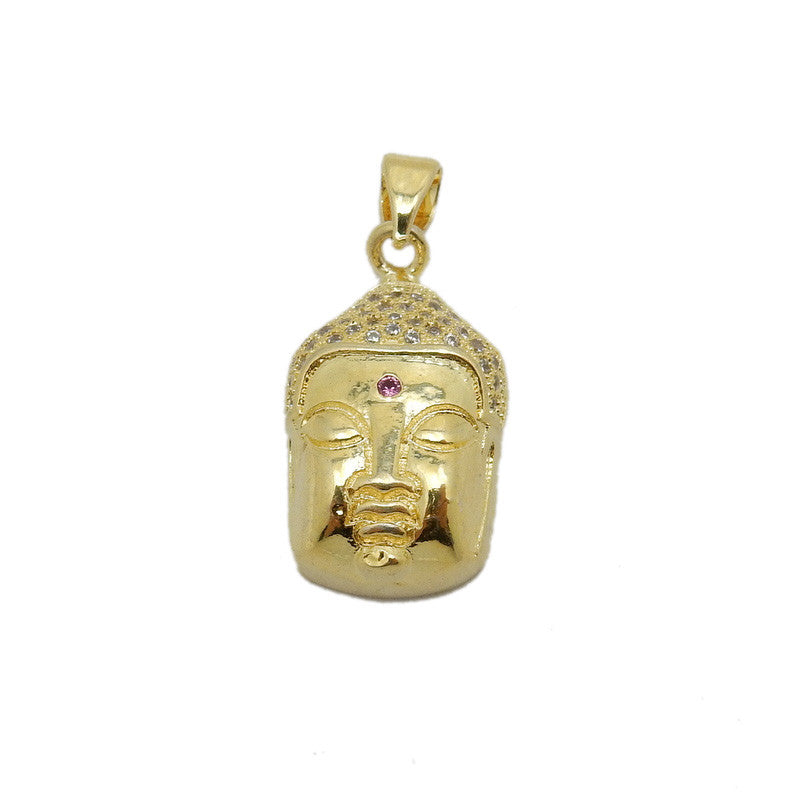 Buddah Head - Plated Brass Buddah Head Pendant with Red Rhinestone Accent