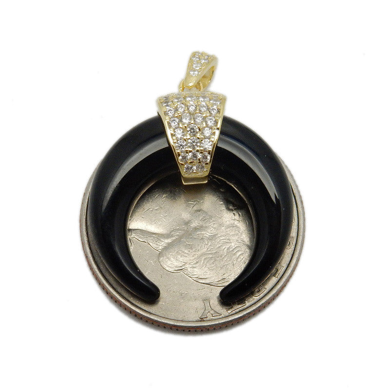 Crescent Pendant  with Sterling Band and Rhinestone Pave Accents