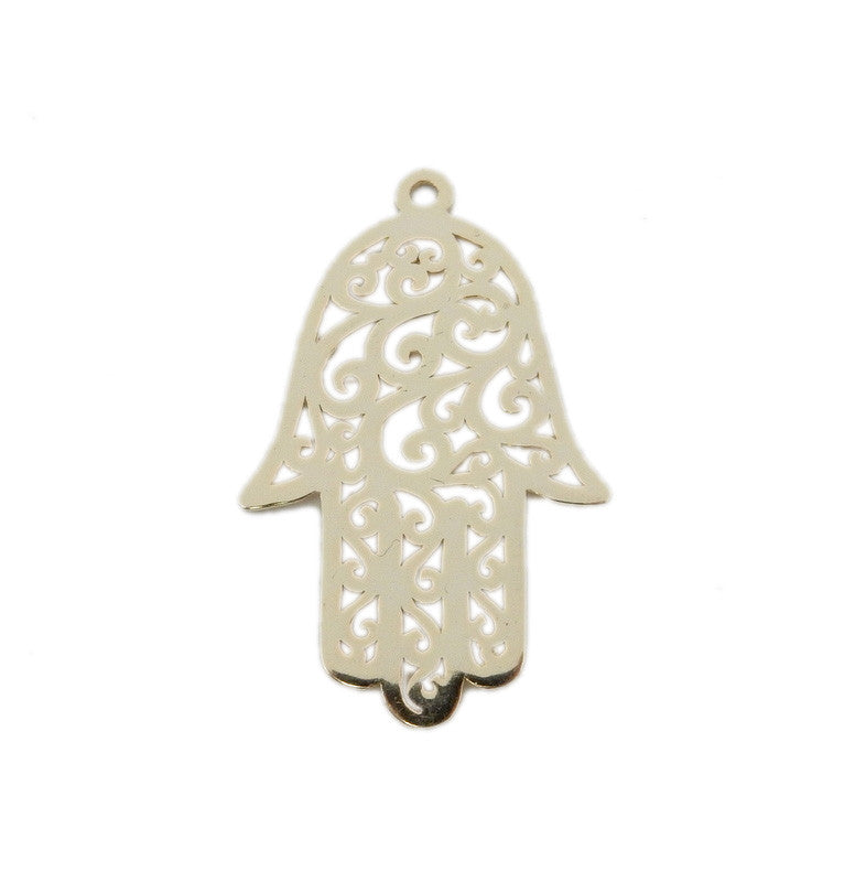 Hamsa Hand - Sterling Hamsa Hand Pendant with Intricate Designs
