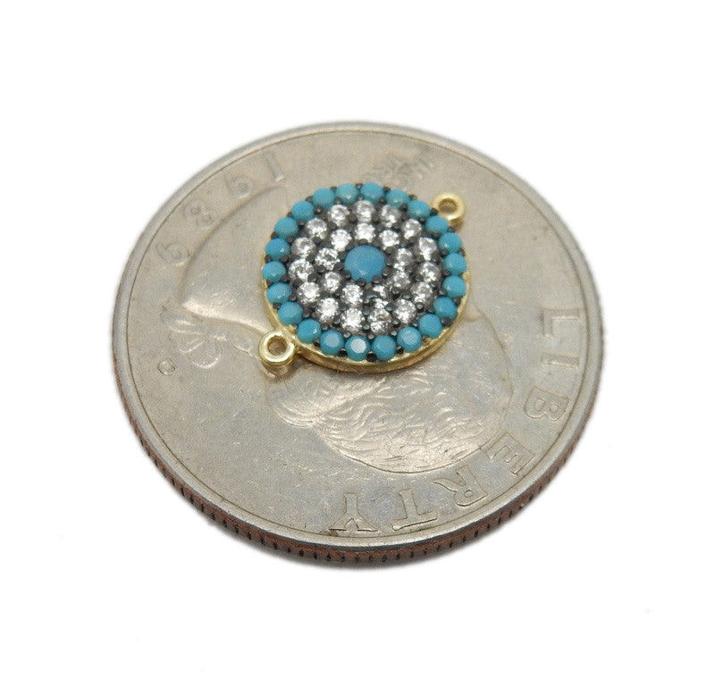 Round Coin Charm Double Bail Pendant - Gold over Sterling with Light Blue Accents and Rhinestone Pave