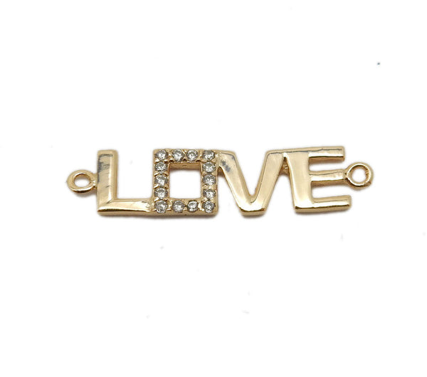 Love Charm - Sterling Double Bail pendant with Rhinestone Accents